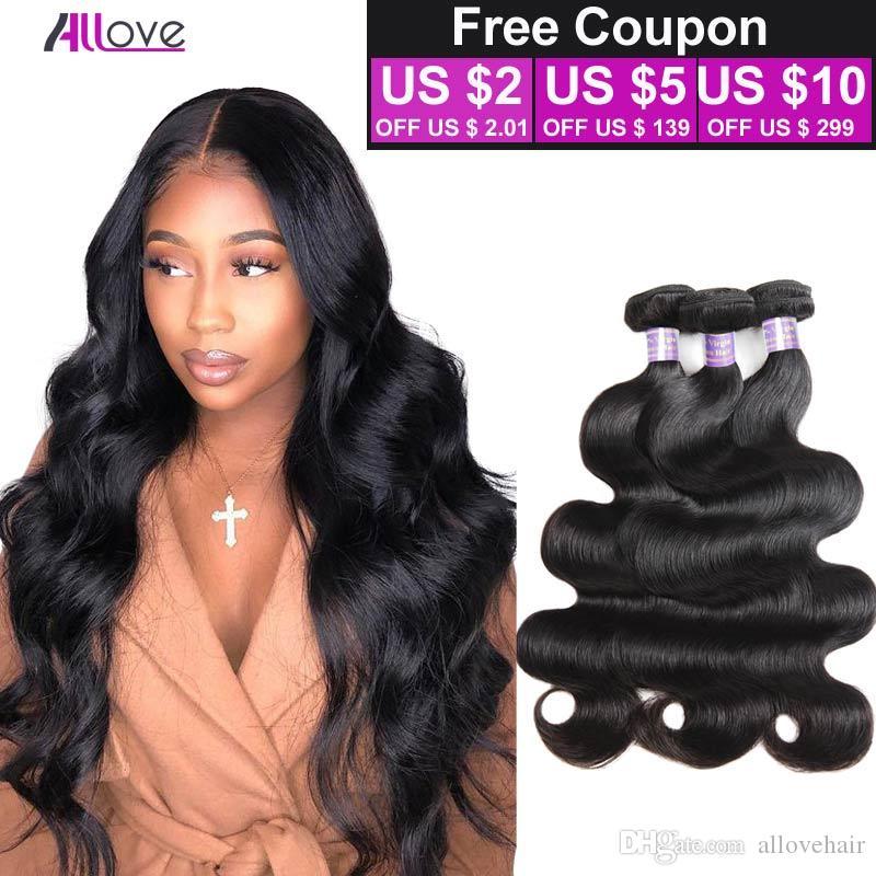 Allove 8A Grade Body Wave Virgin Extensions Brazilian 3 Bundle Deals Peruvian Human Hair Bundles for Women All Ages Natural Black 8-28 inch