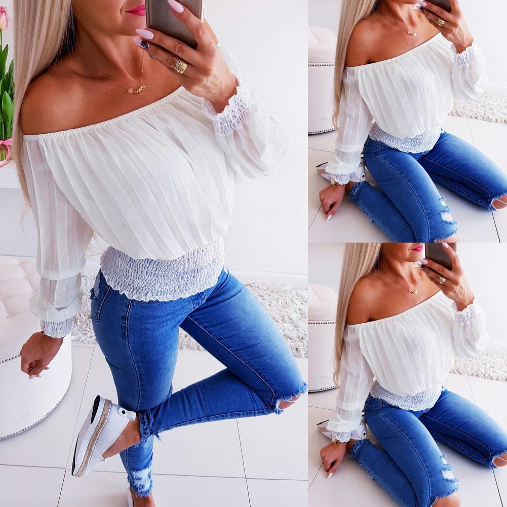 Frauen Blusen Shirts Sexy Stil Frauen Damen außerhalb der Schulter Langarm Spitze Bluse Tops Casual Slim