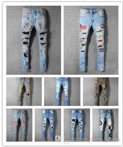 Tide высокого качества Гофрированный отверстие Тонкий ноги слегка эластичные мужские брюки стрейч Тонкий джинсы модный бренд брюки