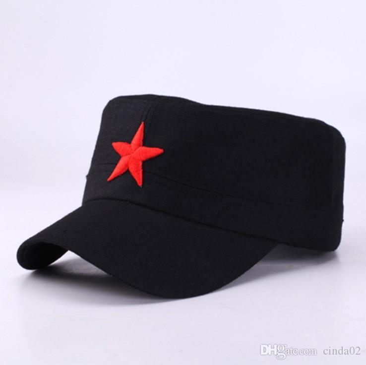 Cap Red Star Stickerei Cap Hut Armee Grün Flache Hüte für Männer Frauen Vintage Knochen Männlichen Weiblichen Armee Sonnenhut