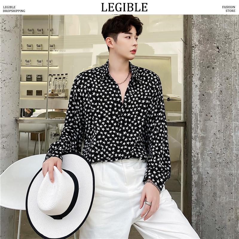 LEGIBLE estrellas camisa hombres 2020 hombres moda coreana camisa de manga larga hombre hawaiano camisas Casual ropa suelta
