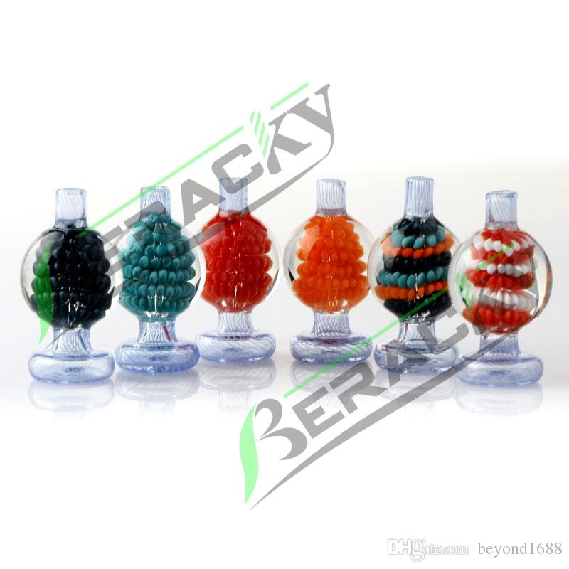 Beracky New Built-in Flower Glass Bubble Carb Cap 26mm OD Stripe Carb Caps for Beveled Edge Quartz Banger Nails Water Bongs Dab Rigs