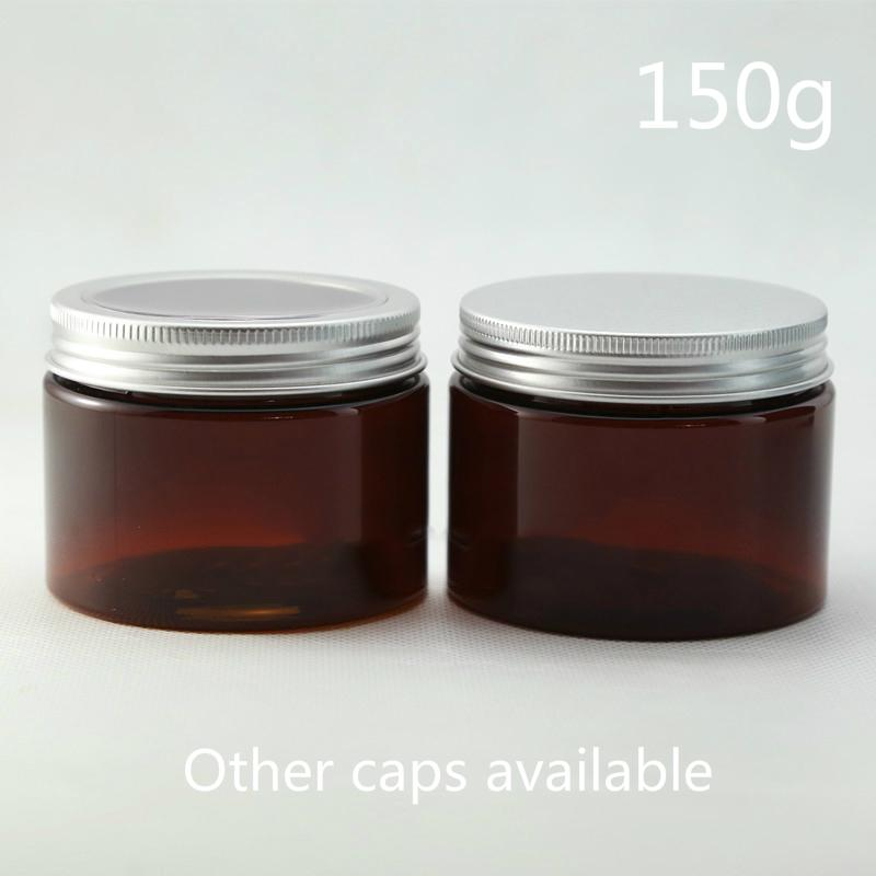 Brown 150g Plastic Skin Care Cream Jar Refillable Body Lotion Empty Bottle Mask Powder Tea Packaging Container Free Shipping