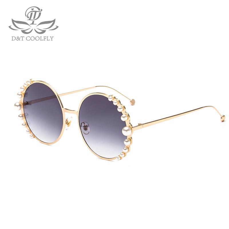 DT 2018 New Luxury Pearl Occhiali da sole Donna Fashion Metal Frame Occhiali da sole rotondi Progettista di marca Specchio Perla Occhiali da sole UV400