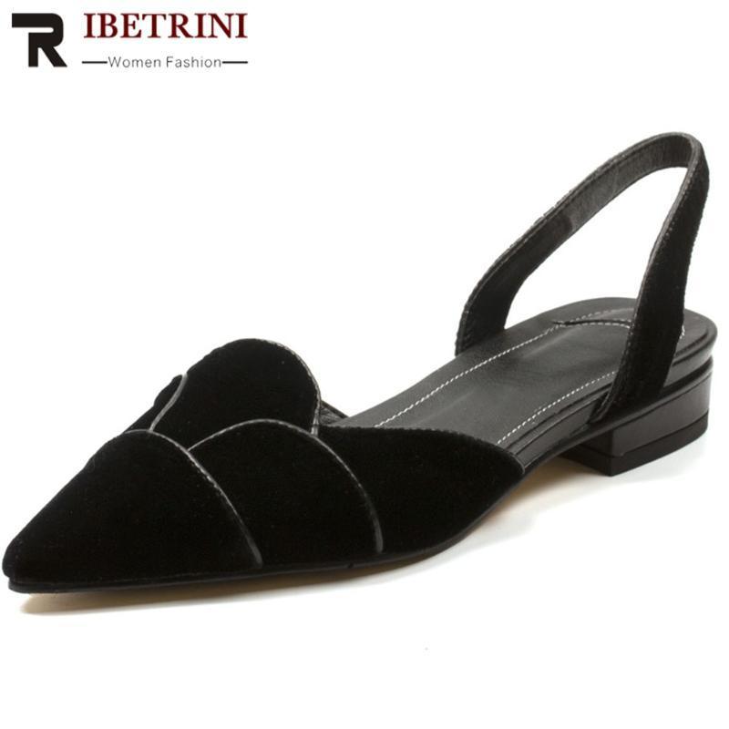 RIBETRINI Yeni Tasarım Ruffles Ayakkabı Kadın Sweet Soğuk slip-on Sivri Burun Sandalet Kadınlar Yaz Rahatlık deri iç astar Sandaletler