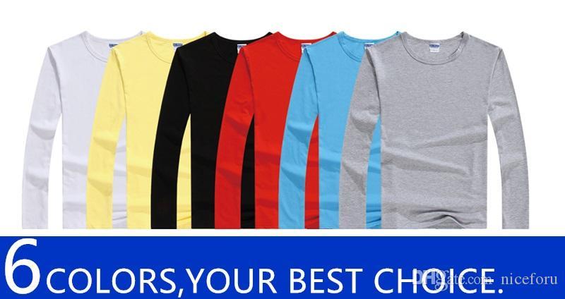 NICEFORU MENS girocollo trasporto libero a maniche lunghe della maglietta semplice confortevole può fare il vostro proprio dono logo design per la famiglia e gli amici