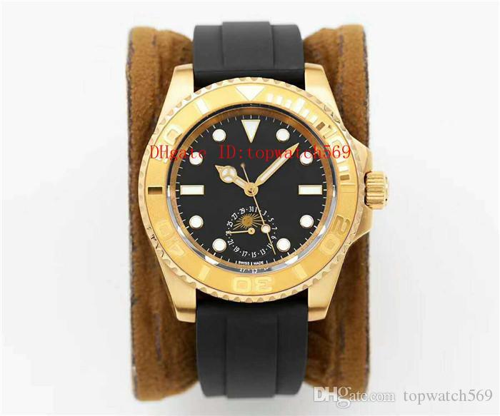 Top Mergulho relógios de ouro 18K Aço inoxidável 316L relógio de pulso Mens Watch suíço 2824-3 Automatic 28800 vph cristal de safira Data fase da Lua