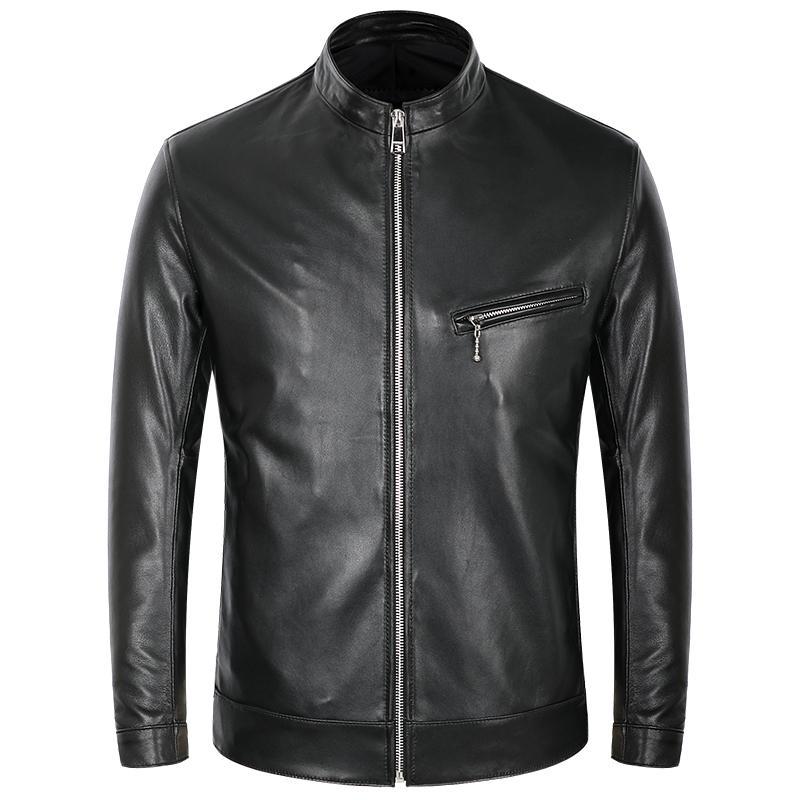 Erkekler Koyun postu Gerçek Deri ceketler Sonbahar İlkbahar İnce Motosiklet Bisiklet Ceketi Erkek Gerçek Deri Mont Siyah Yaka Standı