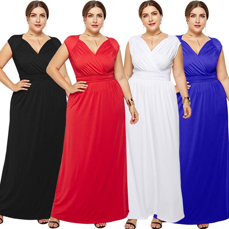 Vestido largo de color sólido de moda para mujer sexy más el tamaño M-3XL Cintura delgada con cuello en v sin mangas Vestidos largos