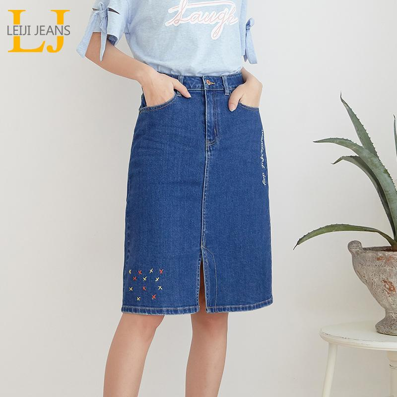 New Arrival All season stretchy Knee-length Embroidery Denim Skirts Plus Size Fashion Blue A-line bule Women Skirts T190604
