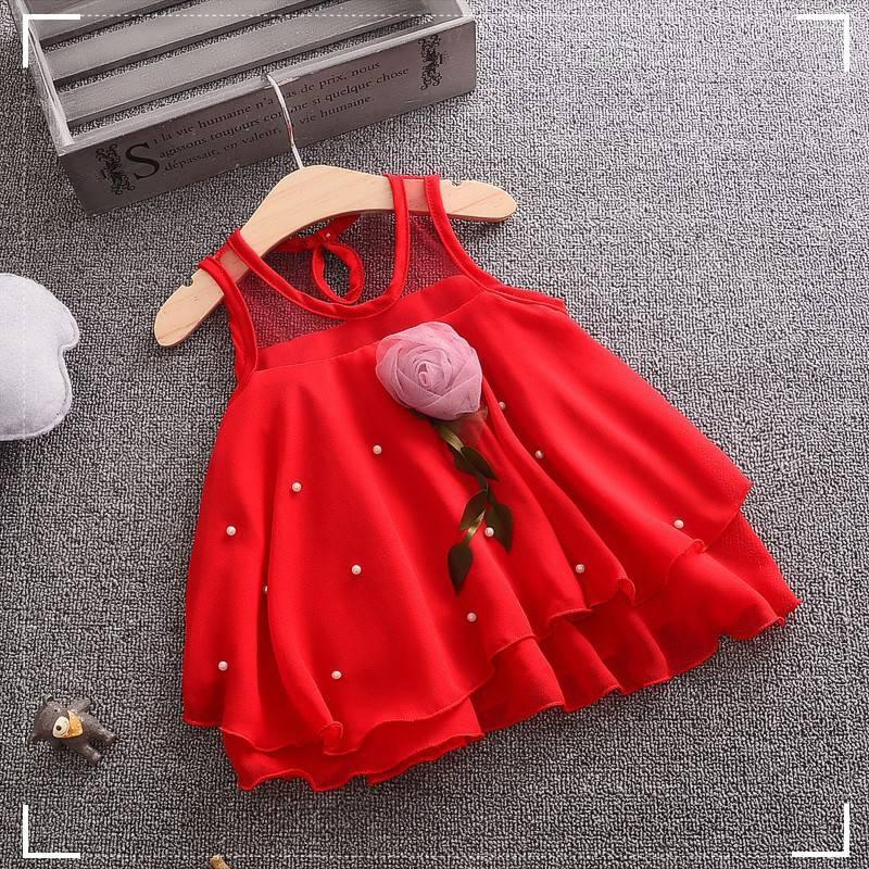 Summer Rose Baby Girls Infant Sleeveless Tutu Dress Party Princess Red White Chiffon Dress