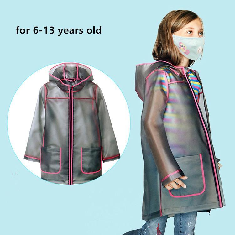 معطف واق من المطر شفاف للأطفال ، أزياء TPU الطلاب ماء معطف المطر المعطف قابلة لإعادة الاستخدام مع الرباط هود