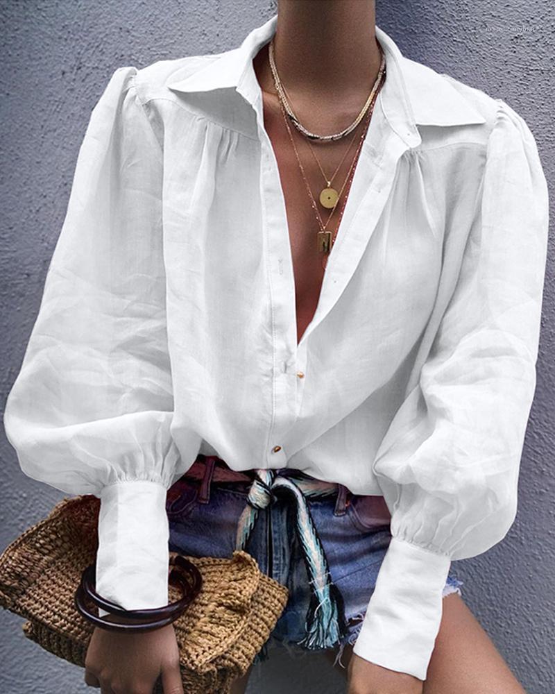 قمصان كم طويل الرقبة طية صدر السترة لون الصلبة زر الجوف خارج بلايز النسائية فستان الشمس شفافة لون الحلوى النسائية