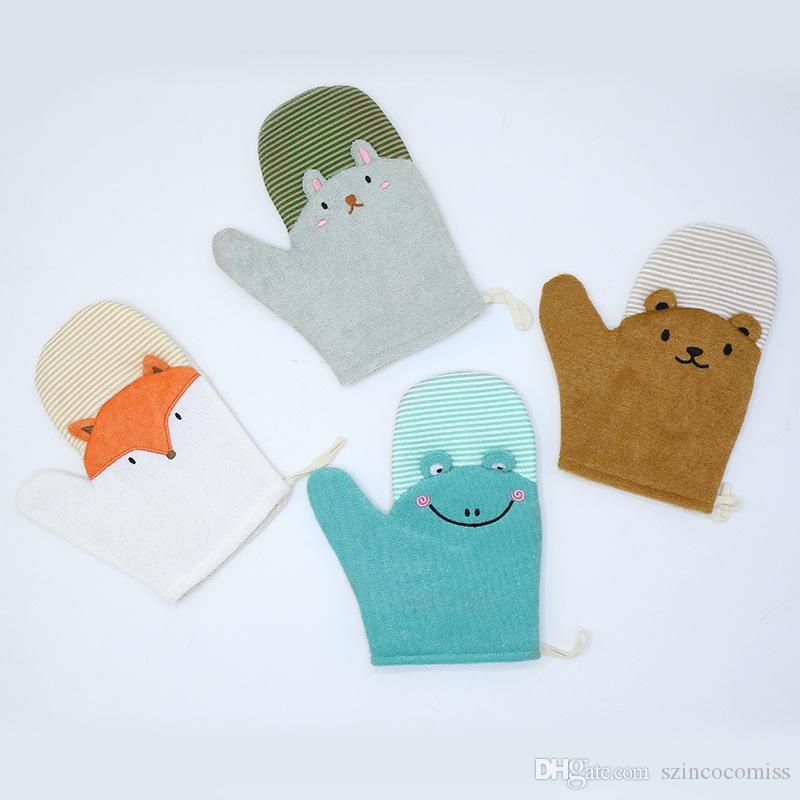 Novo Criativo adorável crianças luvas de banho escova de banho bola esfregar zao artefato dos desenhos animados do chuveiro de bebê banho de volta luvas de borracha