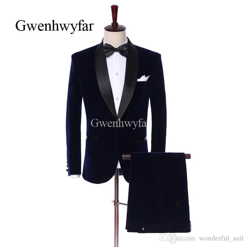 2018 Hot NEW sale Velvet Man Suits For Man clothes 2 Psc Peaked Lapel wedding suit Classic style Black pantsTuxedos For Party Suits
