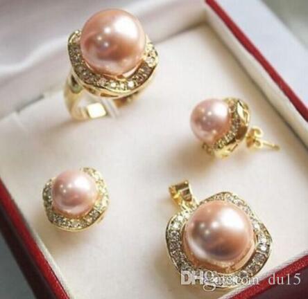 Parrucche piene per capelli da donna cospay da donna Set 10mm 14mm rosa orecchini conchiglia di perle del mare del sud Misura dell'anello 7 8 9 stile Fine