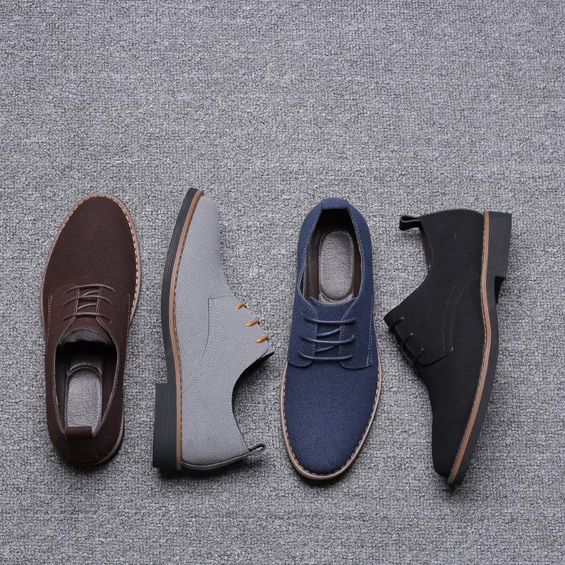 Marca de conducción plana de Oxford zapatos cómodos Inglaterra nubuck de cuero de vaca genuino gamuza transpirable zapatos zapatos casuales para hombre Resbalón