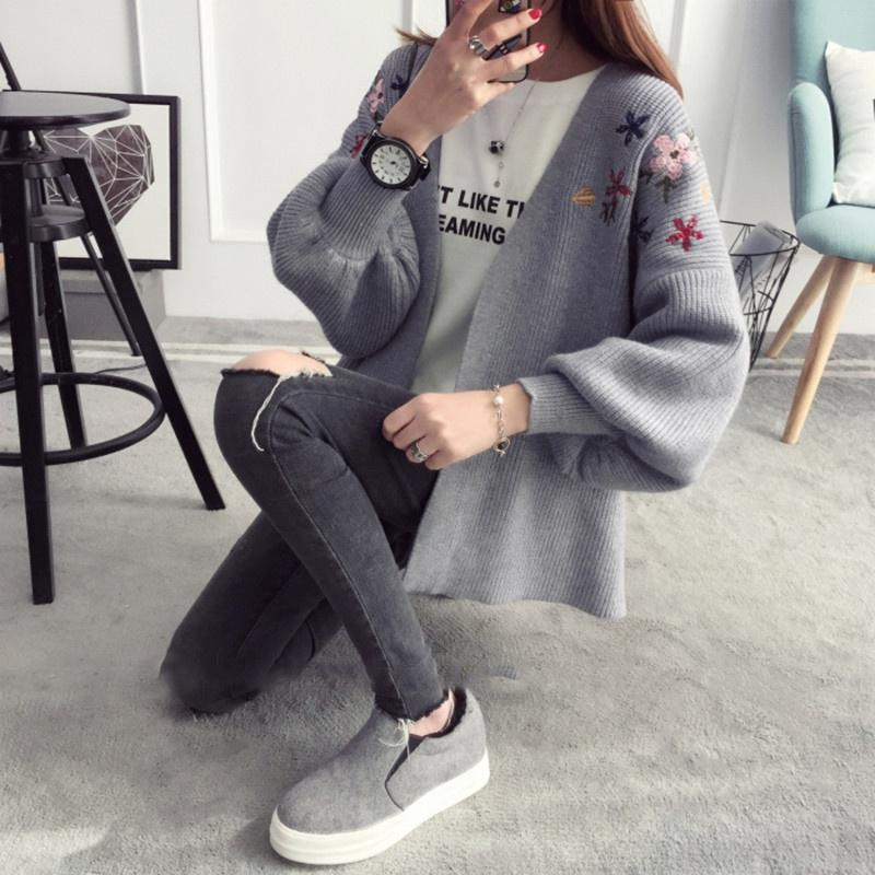 2020 Sweater Women 2018 Autumn Winter Tops Clothes Cardigan Embroidered Flower Long Lantern Sleeve Cardigan Knitted Sweaters From Avive, $15.24 |