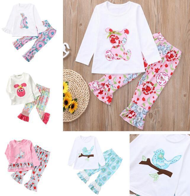 Оптовые Easter девушки Нижнее дети дизайнер одежды девочек Appliqued Банни Цветочные птицы Медведь Printed Сборки с длинным рукавом Брюки Set BY0836