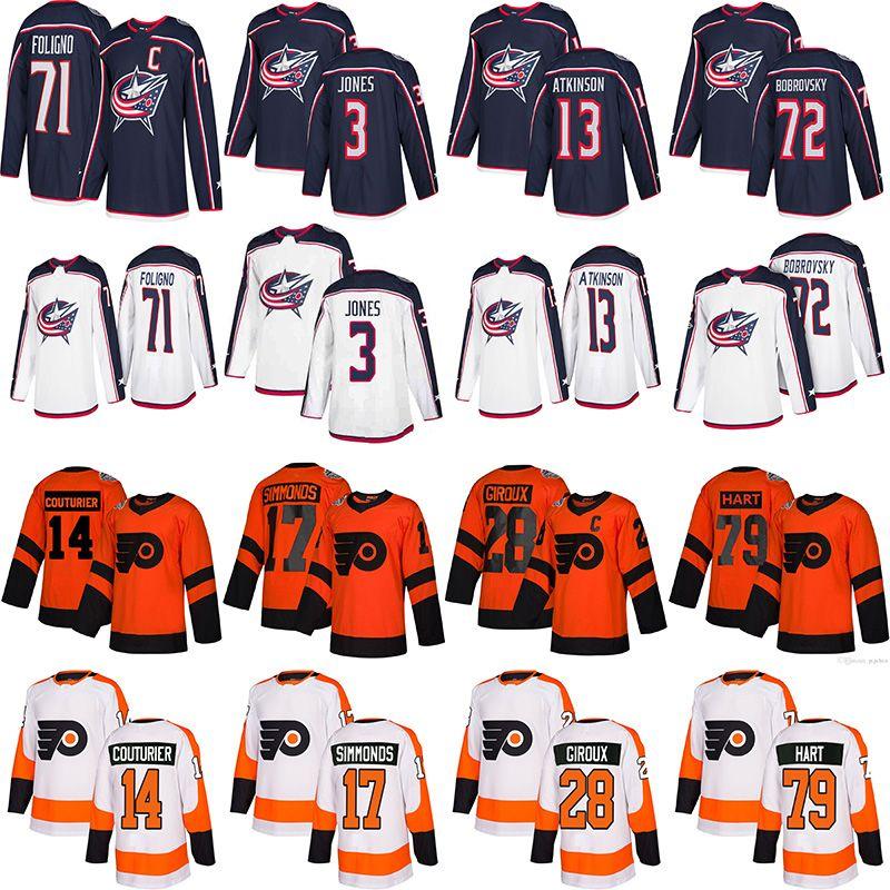 콜럼버스 블루 잭츠 저지 3 세스 존스 71 닉 폴리 아이 필라델피아 전단지 저지 28 Claude Giroux 17 Wayne Simmonds Hockey Jerseys