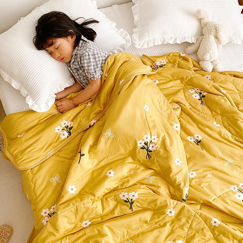 de punto de algodón de verano edredones suave fresco comfoter amarillo brillante casa edredón 1pc verano tiro manta respirar libremente colcha 2020