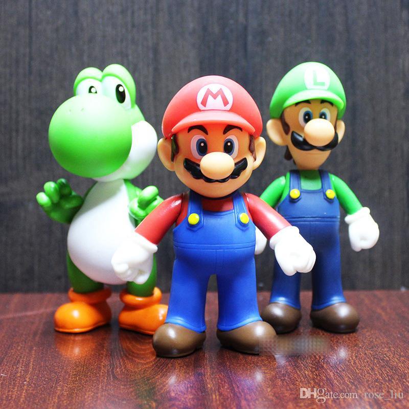 7 Style Super Mario Bros toy 2019 New Cartoon game Mario Luigi Yoshi princess Action Figure Gift Toys Cake ornaments For Kid B