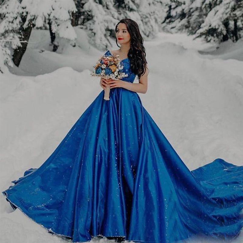 Роскошный королевский синий Пром платья с плеча всю длину атласные вечерние платья партии суд Поезд Пром платья для фото студии платье