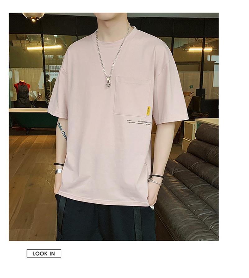 Erkek Tasarımcı Katı Renk Tshirts Yaz Mürettebat Boyun Harf Baskı Casual Gevşek Erkek Kısa Kollu Tees Tops