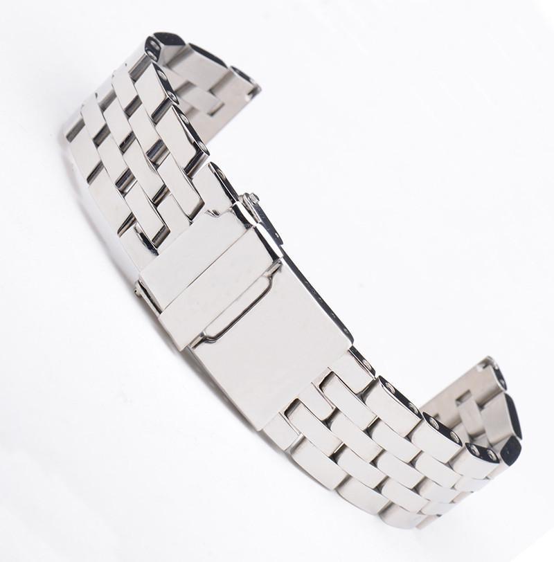 20 mm 22 mm 24 mm de lujo de plata del acero inoxidable de la venda del reloj de la correa de pulsera de corchete por brertiling