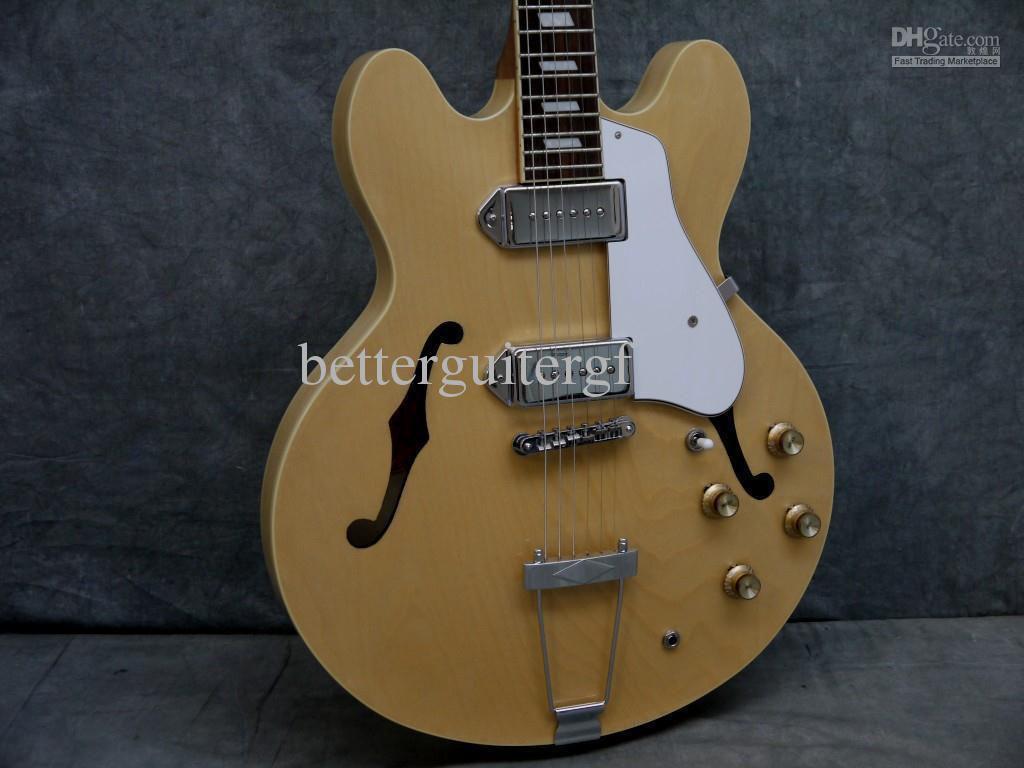 Coutume John Lennon Revolution Casino Natural Maple ES Jazz Guitare électrique Semi Hollow Body Double F Trou Métal cordier Best China Guitare