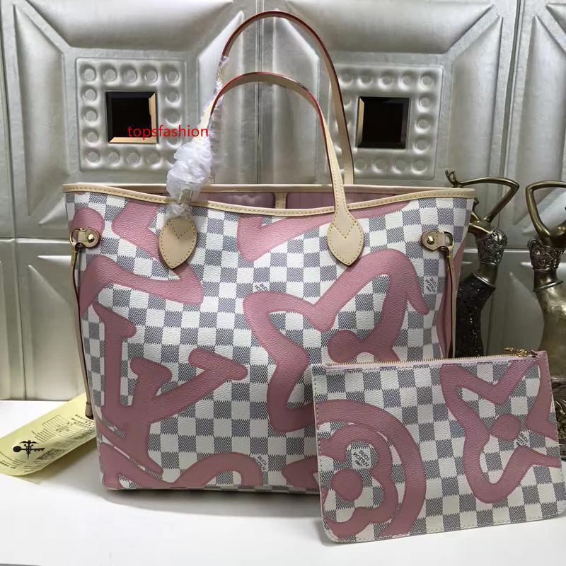 N41050 Classic Lady Pink Canvas кожа хозяйственная сумка сумки на ремне сумки Хобо Top Ручки Boston Креста тела плеча посыльного сумки