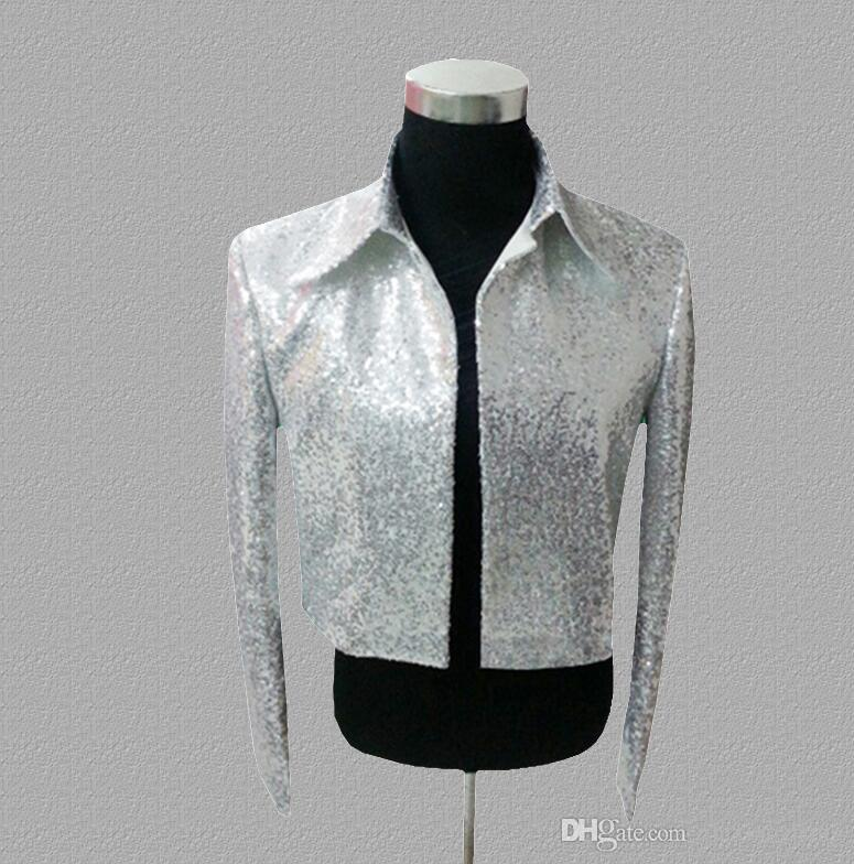 Silver sequins blazer men suits designs jacket mens stage costumes singers dance star style dress punk rock masculino homme terno fashion