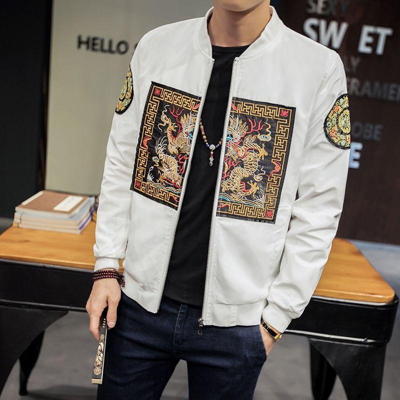 2018 Frühlings-neue chinesische Art-Robe Jacke Herren Drachen Muster Jacke Male Large Size 5XL