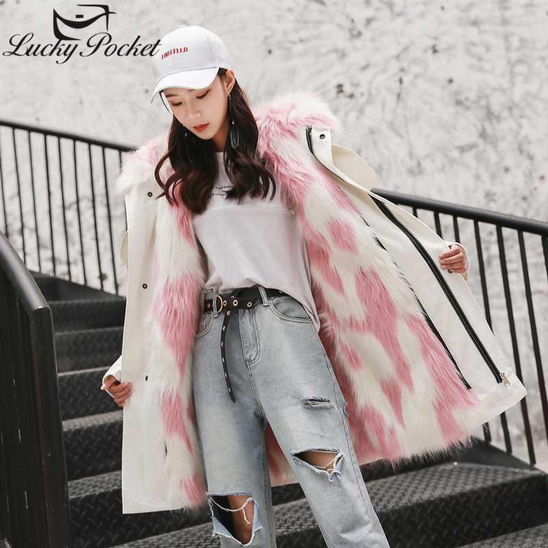 Le donne inverno casuale di lunghezza media solido di colore allentato parka Tuta sportiva di modo delle signore spessore caldo rimovibile Plus Size Coat ZY36 peluche