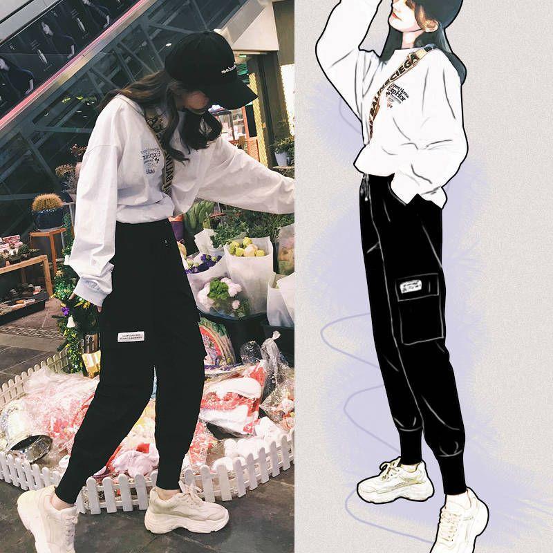 Donne Cargo Pants 2020 Autunno Estate Moda Femminile vita alta allentati pantaloni neri Pantaloni Streetwear con cintura Large Size