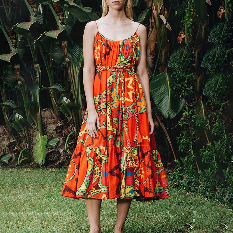 Новая мода лето рукава печать платья для женщин плечи Hit Цвет Крупногабаритных бинтов Midi платье Женской мода 2020