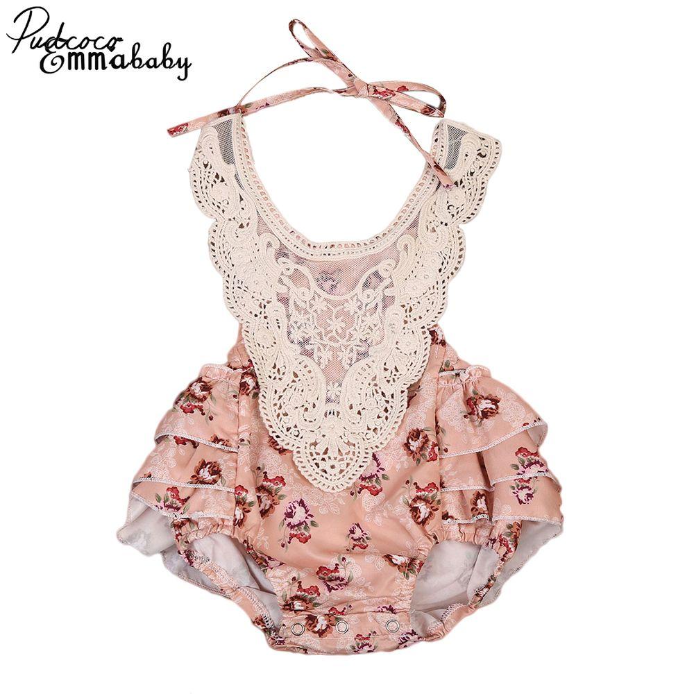 Прекрасный новорожденного дети новорожденных девочек одежда без рукавов цветочные кружева юбки боди костюмы 6-24месяцев Pudcoco