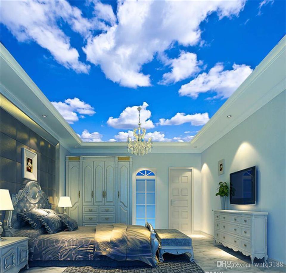 Özel Boyut Mavi Gökyüzü Beyaz Bulut Duvar Kağıdı Duvar Oturma Odası yatak odası Çatı Tavan 3d Duvar Kağıdı Tavan Büyük Yıldızlı Gökyüzü Duvar Kağıdı 3d Duvar