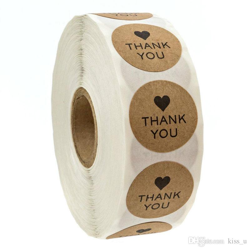 500PCS / Roll festliche Dekoration natürliche braune Kraftpapier danke handgemachte Liebe Aufkleber Label für Urlaub präsentiert Geburtstag