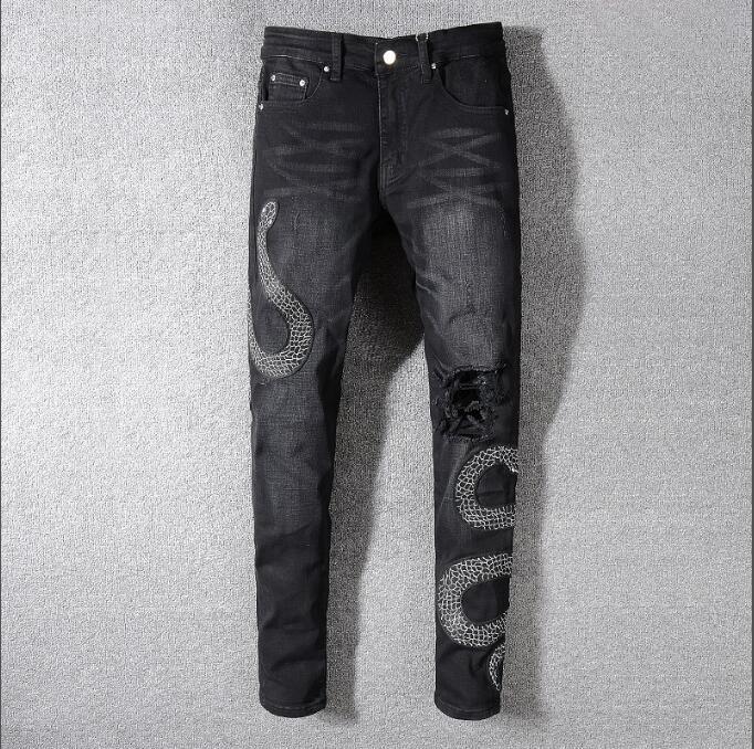 Yeni Erkek Sıkıntılı Biker Jeans Slim Fit Biker Motosiklet Denim İçin Erkekler deliği Kot Kalça Hop Erkek Kot Pantolon Ripped