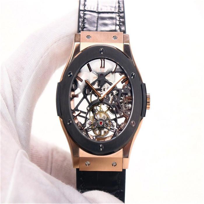 42mm içi boş çevirme 181K tarafından JB fabrika gerçek Tourbillon'u manuel zincir hareketi 6010 izle altın doğal kauçuk kordonlu saat safir kristal GLA gül