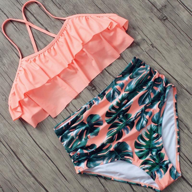 Plus Size Swimwear Women Push Up Swimsuit 2020 Bikini Floral Bathing Suit High Waist Bandage Bikinis Set Summer Beach Swim XXXL
