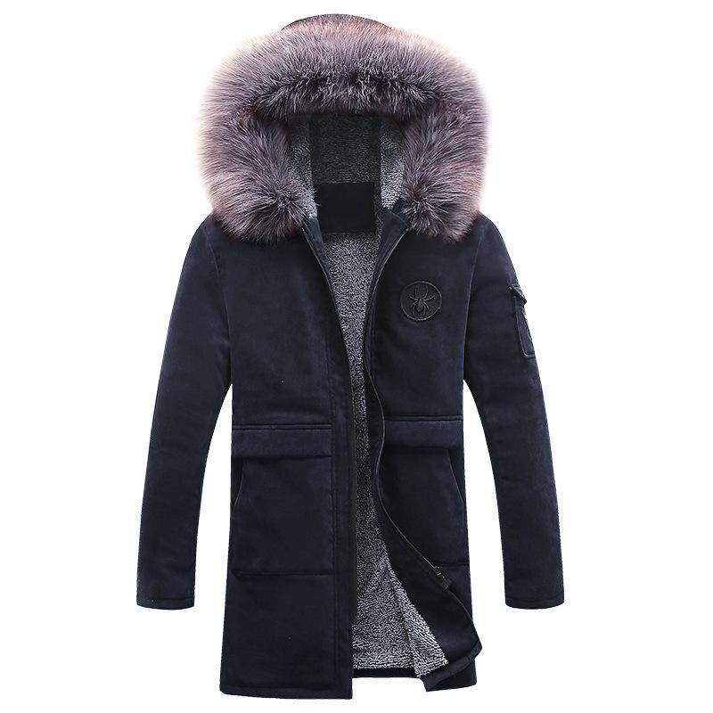 nouvel hiver plus de velours veste en coton à capuche coréenne Slim coupe-vent occasionnel et de longues sections jeunesse marée manteau des hommes