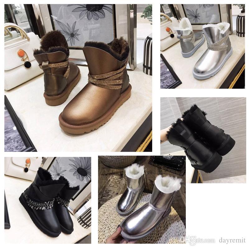 2019 neueste Art und Weise der Qualitäts-Damen Stiefel Stiefel Schneestiefel Winterstiefel Leder bootdesigner WGG Frauen klassische hohe Stiefel