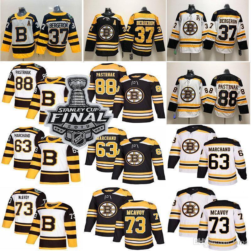 2019 Stanley Cup Boston Bruins Hóquei 37 Patrice Rask 63 Brad Marchand 88 David Pastrnak Hockey Jersey