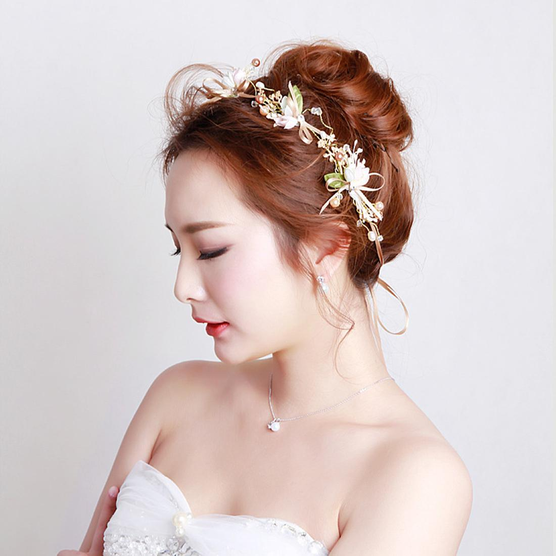 US Warehouse Bridal Headband Headpiece with Rhinestone and Imitation Pearl Crown Hair Wreath Halo with Adjustable Ribbon for Wedding Gift