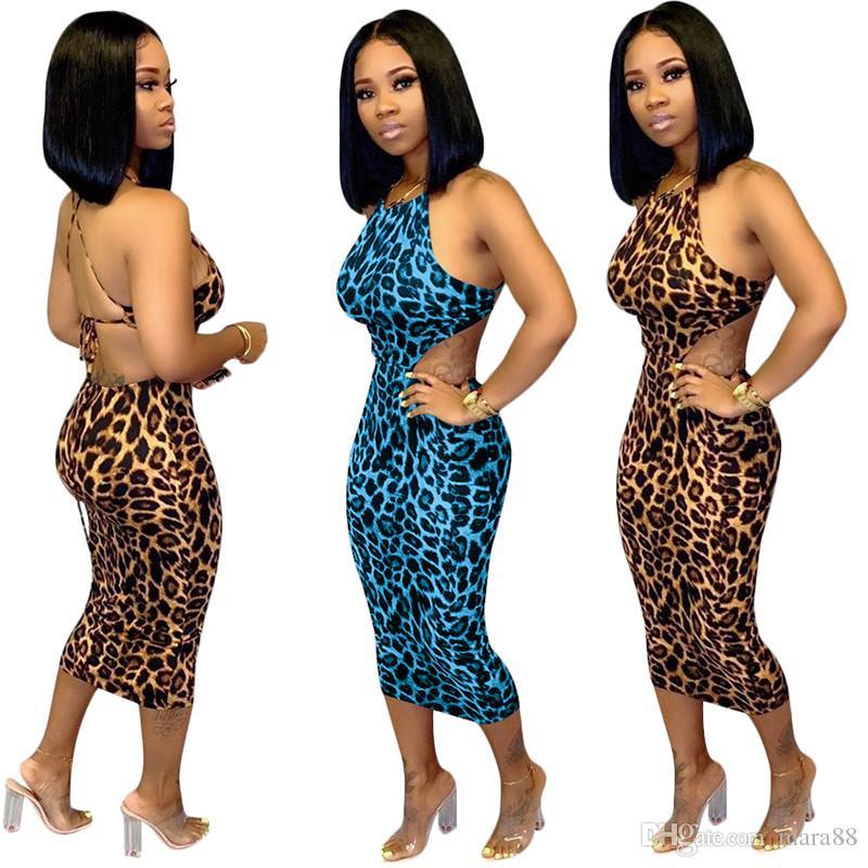 Kadınlar seksi spagetti kayışı elbiseler leopar baskı kollu backless midi etekler tasarımcı yaz giyim moda clubwear ücretsiz kargo 1435