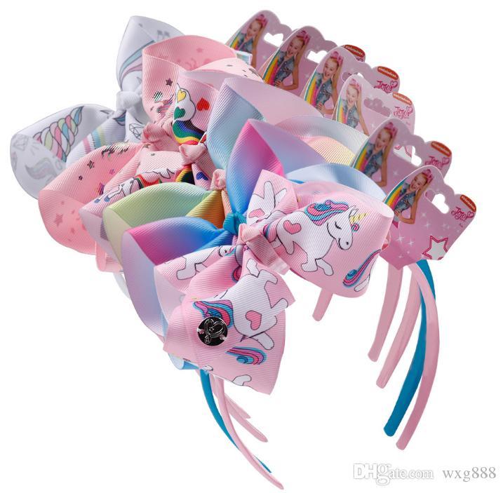 Bandeau Licorne Bébé Fille Jojo Siwa Archets Bébé Bandeaux Pom-Pom Girl Bandeaux 6 Pouces Licorne Accessoires 6 Couleurs Fournitures De Fête