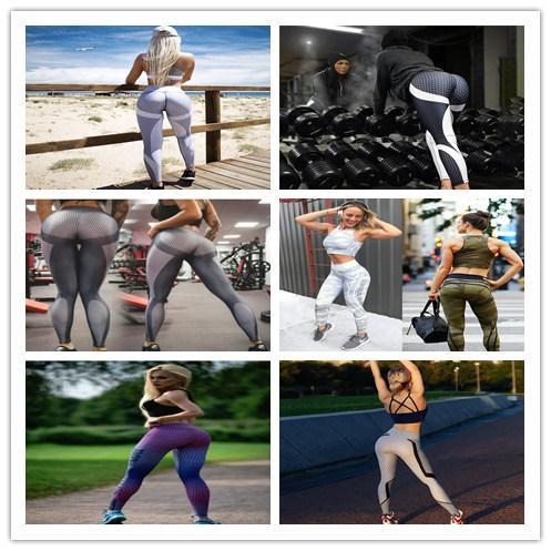 Frauen Fitness Yoga Slim Leggings Wabenmuster Druck Hüfte Push Up Gym Bodybuilding Hose Schwarz Weiß Patchwork Streifen Casual Pant