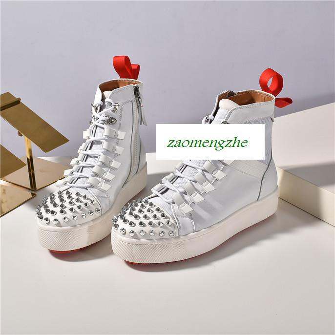 TOP novo apartamento Sneakers Designer Luxo Mens Red Bottoms sapatas das mulheres Rivet em Pé Sock Júnior Spikes Flat Shoes